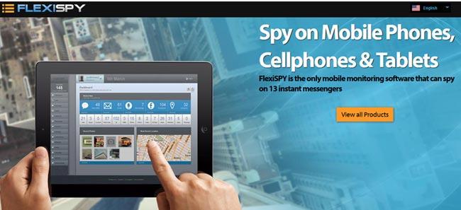 screenshot of the FlexiSPY homepage